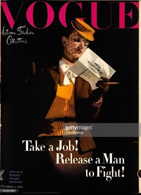 Take a Job! Release a Man to Fight!: Model wearing Traina-Norell's brown Rodier wool suit, yellow sweater and white blouse from Bonwit Teller, Marshall field and Nan Duskin, yellow hat with veil and brown gloves, holding paper that reads WOMEN IN NECESSARY CIVILIAN JOBS and yellow pencil *** Local Caption ***